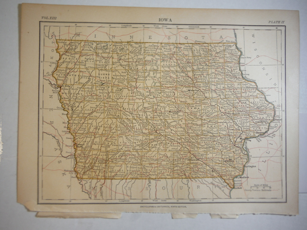 Antique Map of Iowa from Encyclopaedia Britannica,  Ninth Edition Vol. XIII Plat