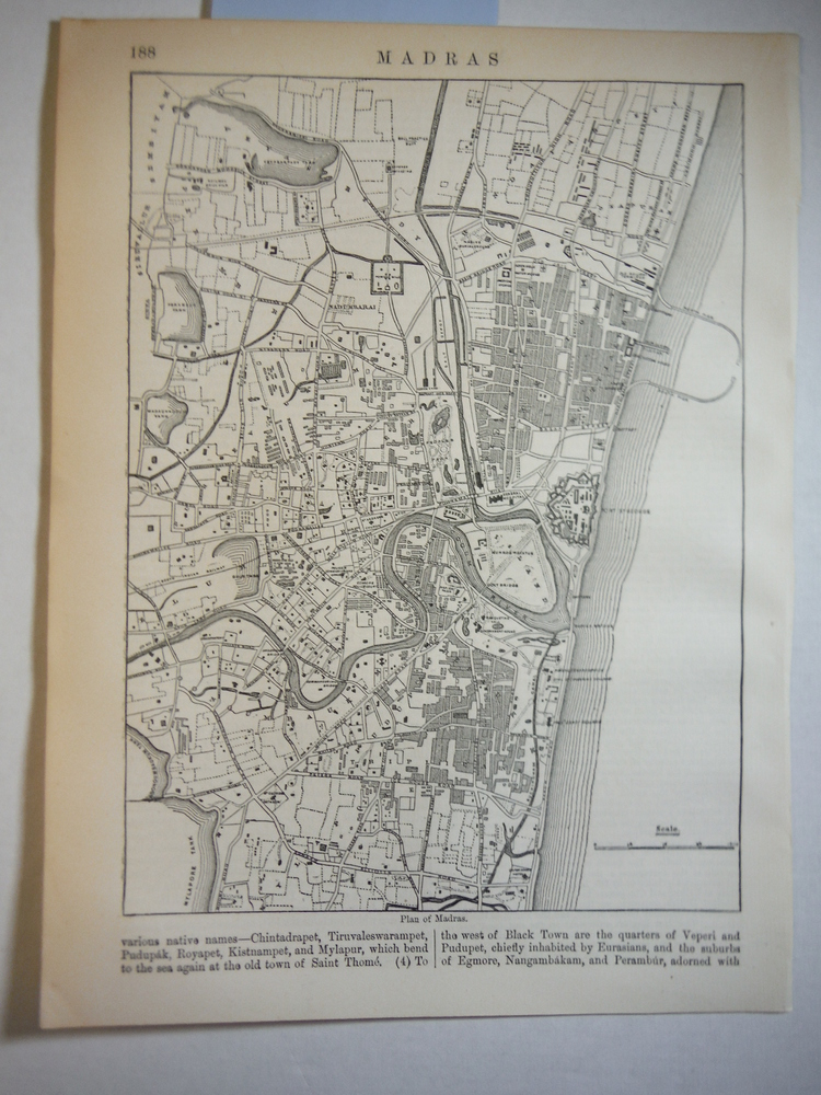 Antique Map of Madras (India) from Encyclopaedia Britannica,  Ninth Edition Vol.