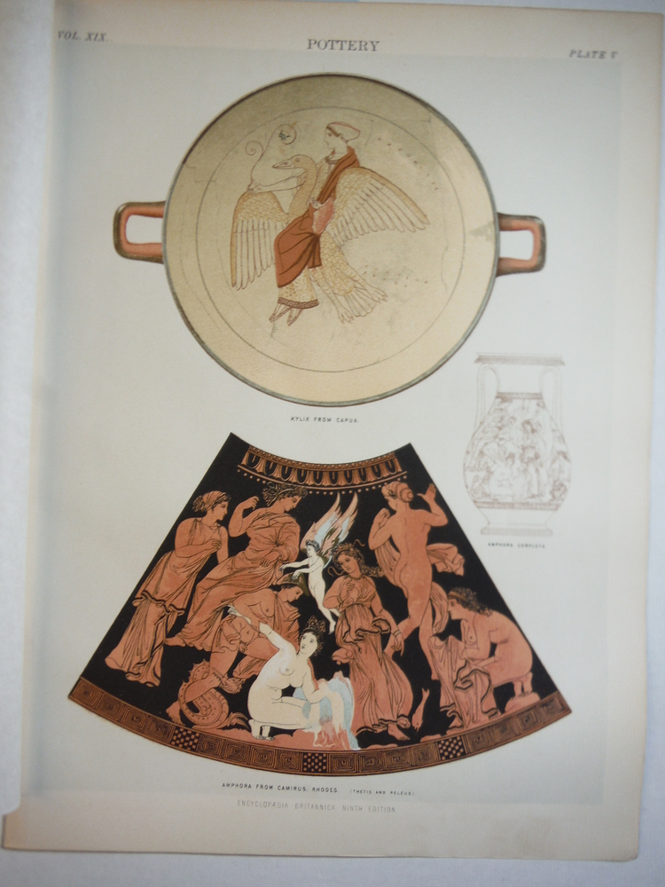Antique Color Engraving of  Greek Pottery from Encyclopaedia Britannica,  Ninth