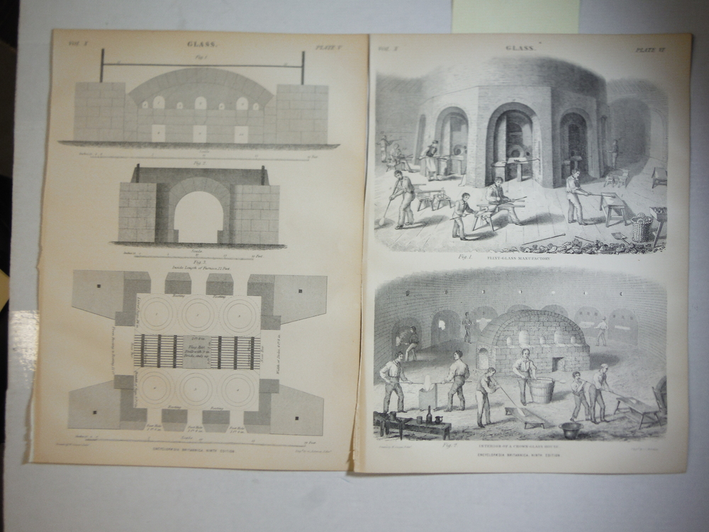 Antique Engravings entitled Glass by G. Aaikman from Encyclopaedia Britannica,