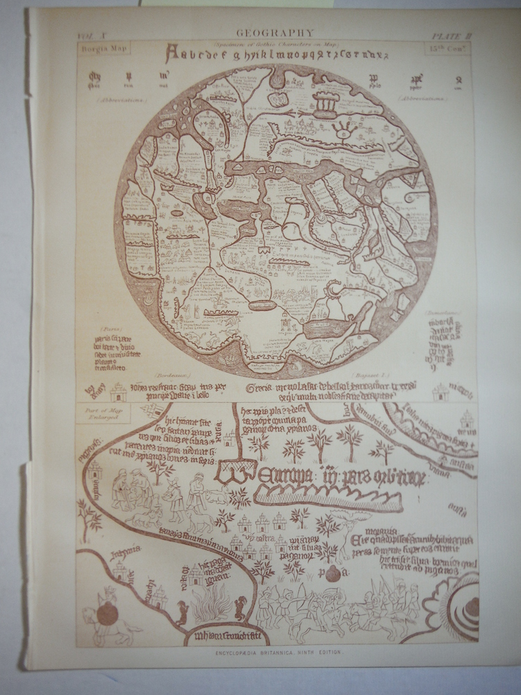 Antique Borgia Map from the Encyclopaedia Britannica,  Ninth Edition Vol. X Plat