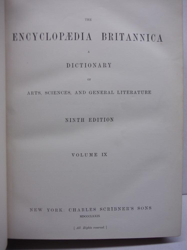 Image 1 of Encyclopaedia Britannica,  Ninth Edition Vol. IX  (1879)