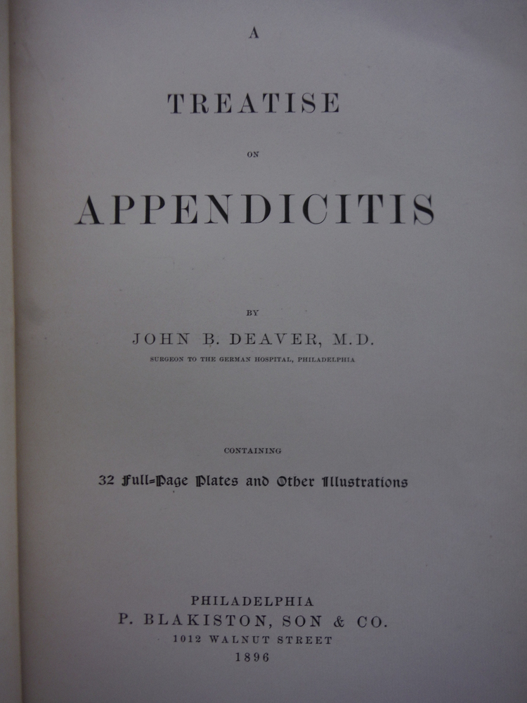 Image 1 of A Treatise on Appendicitis