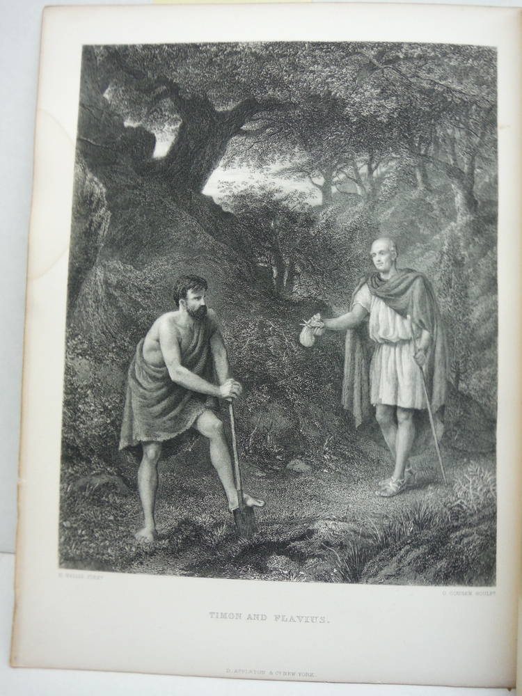 C. Cousen  Antique Steel Engraving  Timon and Flavius after a Painting by  H.