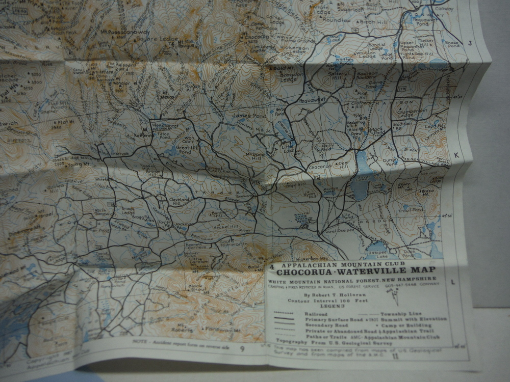 Appalachian Mountain Club Map of the Mount Washington Range White Mountains, N.H