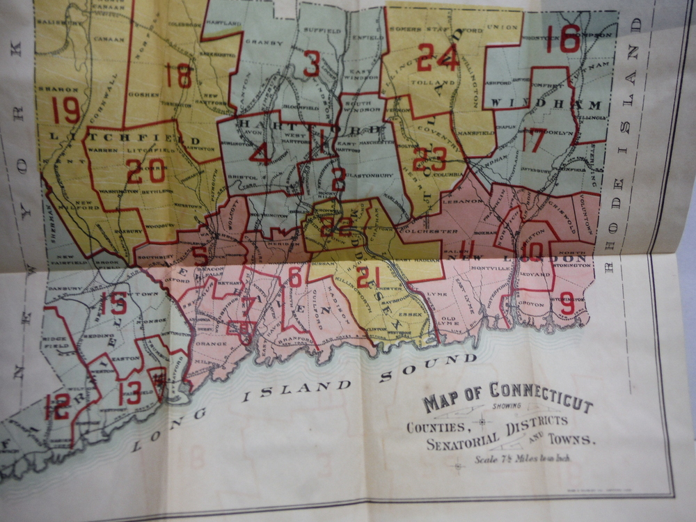 Vintage Colored Map of Connecticut Showing Counties, Senatorial Districts and To