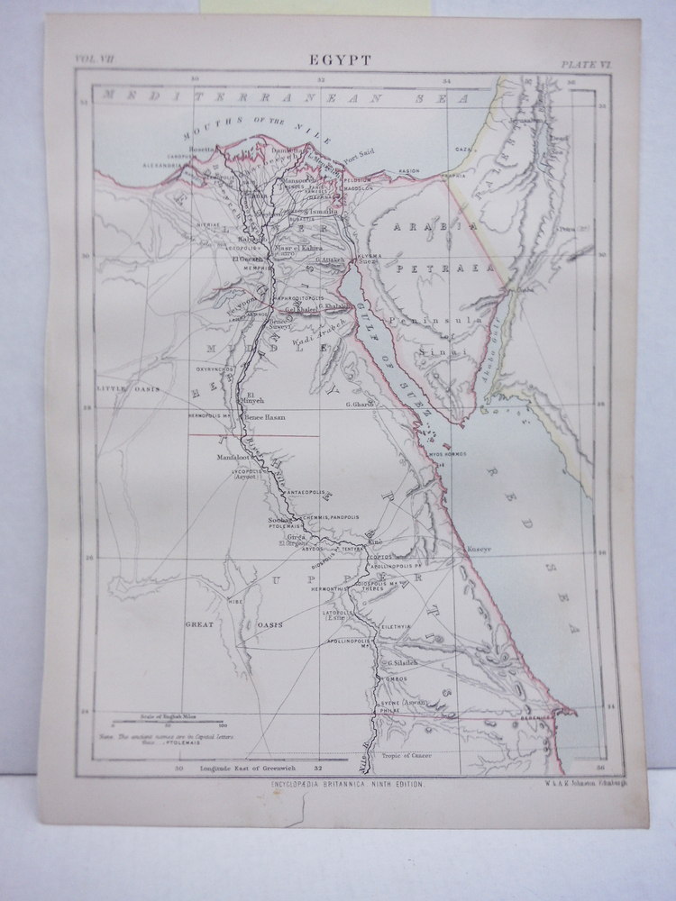 Antique Map of Egypt from Encyclopaedia Britannica,  Ninth Edition Vol. VII Plat