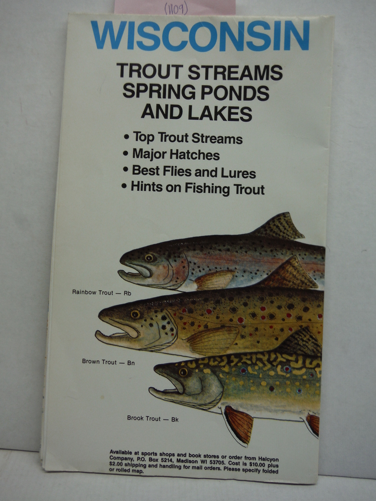 Colored Map of Wisconsin Trout Streams Spring Ponds and Lakes (38 x 44)