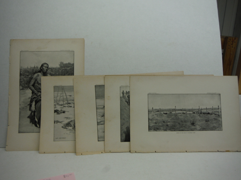 Antique Images of the Battle of Wounded Knee Antique Prints  (5) - Bureau of Eth