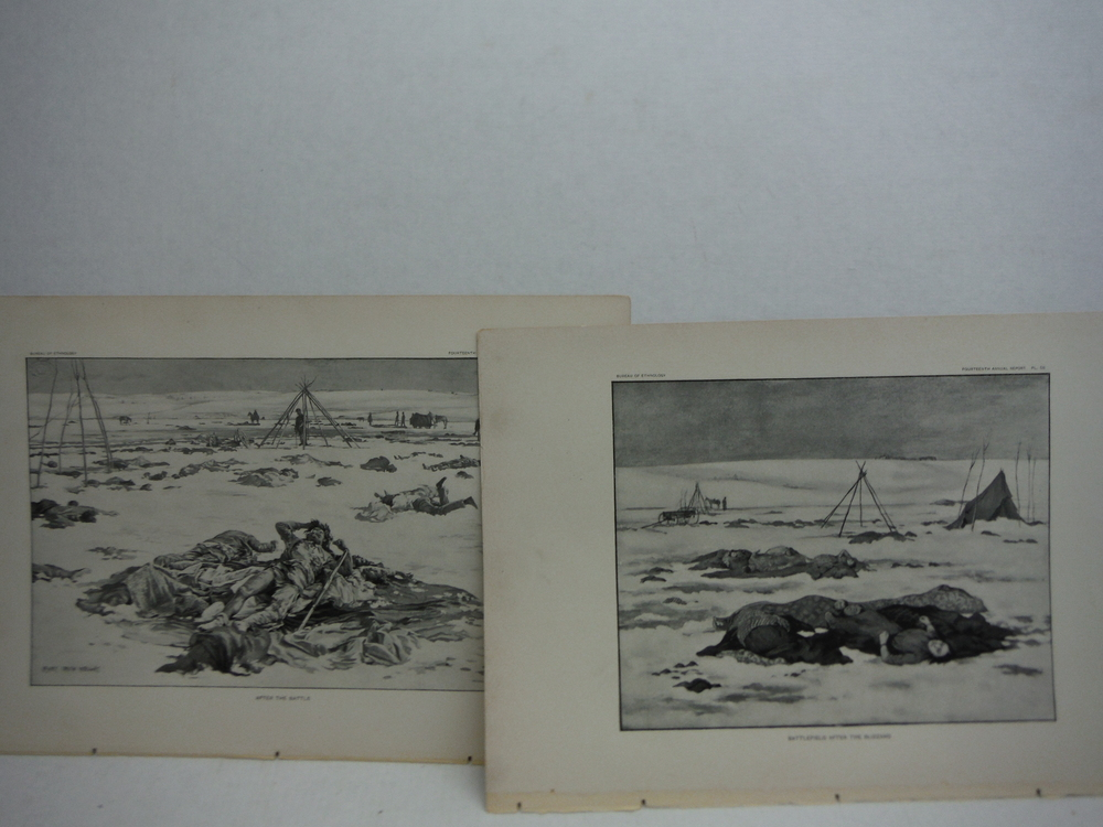 Image 2 of Antique Images of the Battle of Wounded Knee Antique Prints  (5) - Bureau of Eth