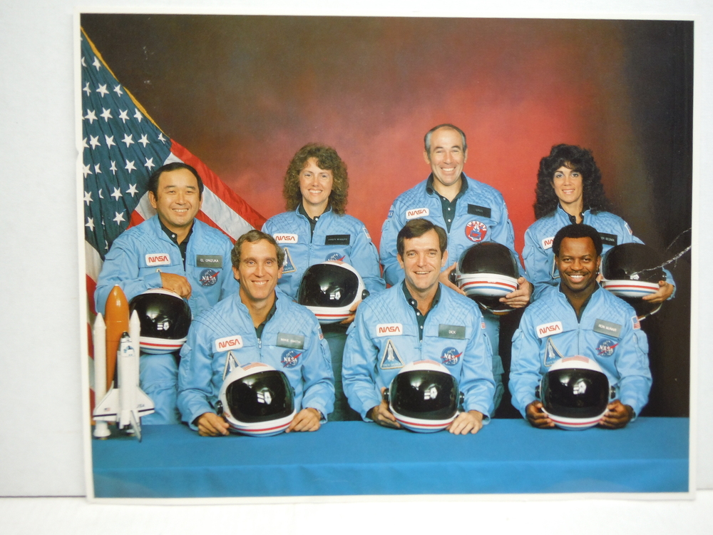 CREW OF SPACE SHUTTLE MISSION 51-l (CHALLENGER) 8 x 10 photo from the Space Sh