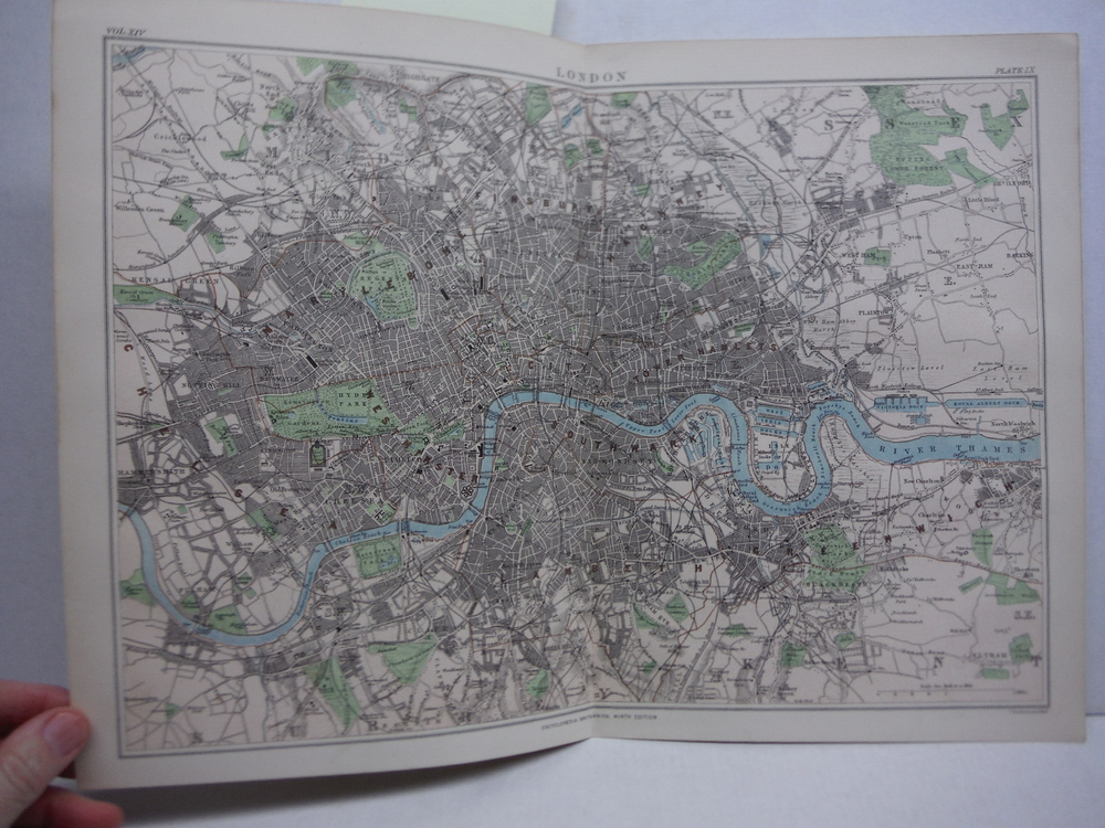 Antique Map of  London from Encyclopaedia Britannica,  Ninth Edition Vol. XIV Pl