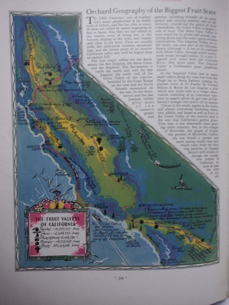 Colored Map of The Fruit Valleys of California  Fortune Magazine February 1932