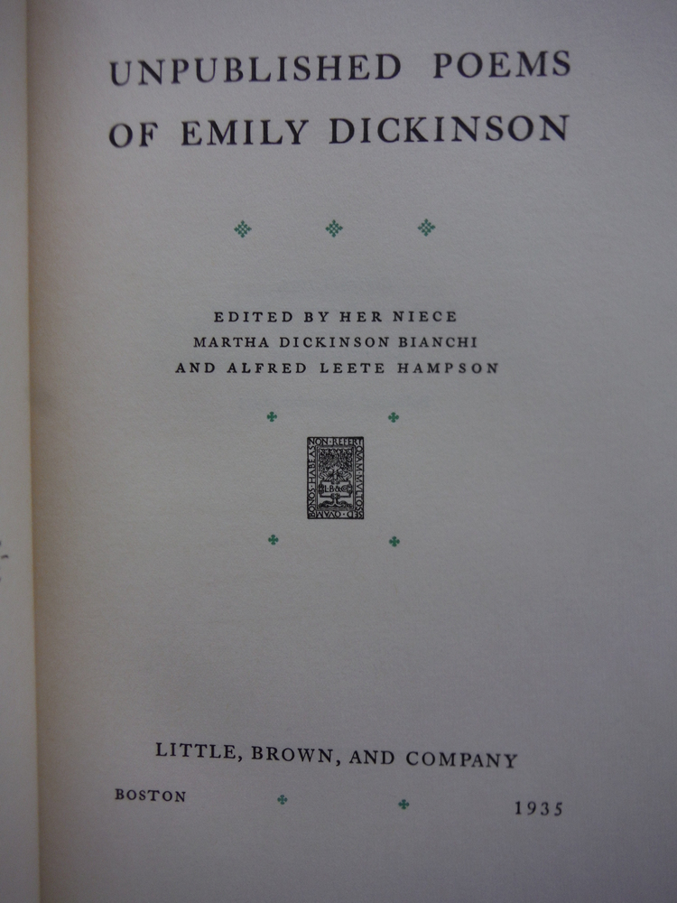 Image 1 of Unpublished Poems of Emily Dickinson (Limited First Edition)