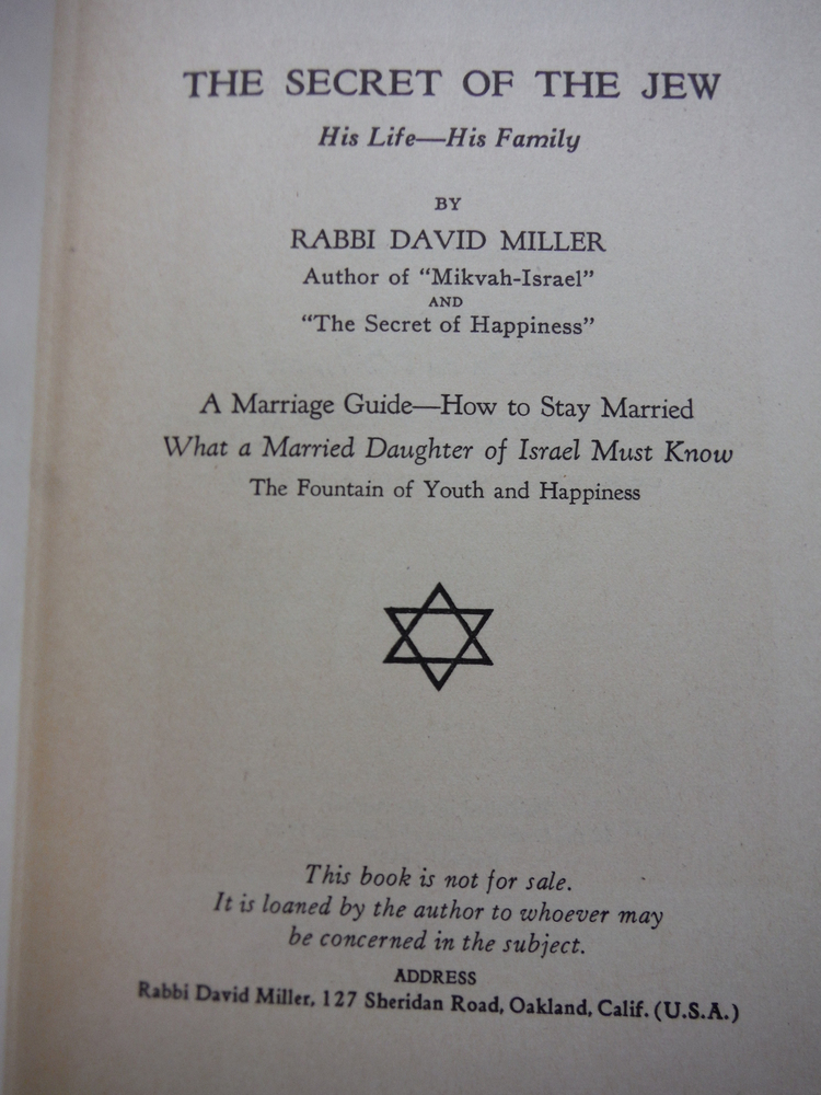 Image 1 of The Secret of the Jew : his life, his family : a marriage guide, how to stay mar