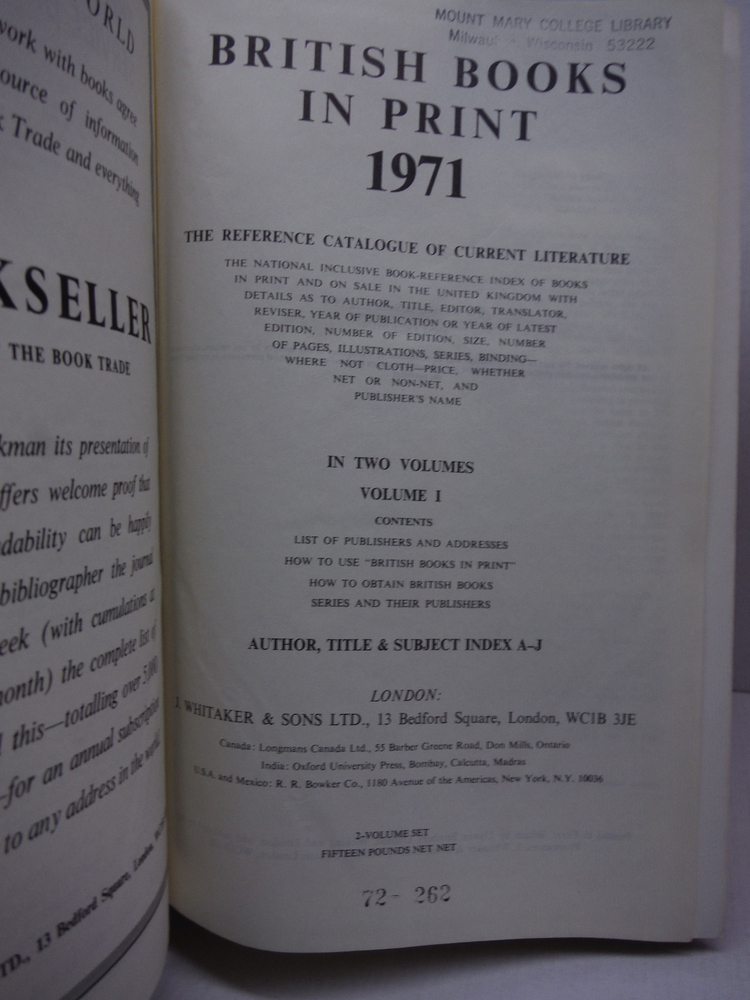 Image 1 of British Books in Print: The Reference Catalogue of Current Literature: 2v