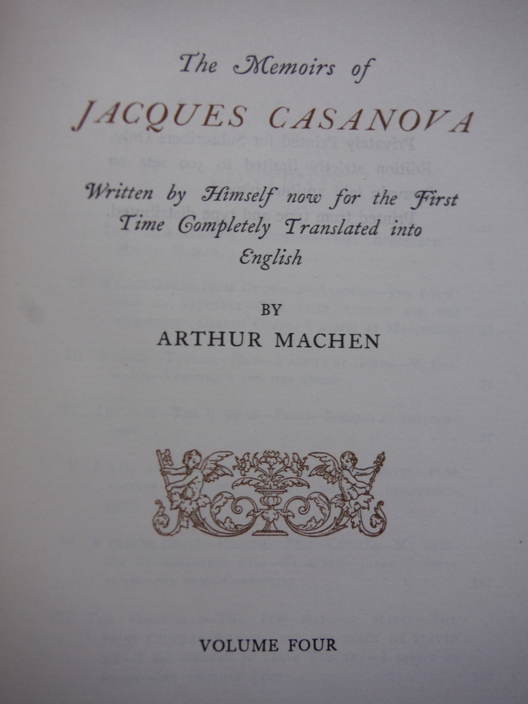 Image 2 of The Memoirs of Jacques Casanova (Six Vol. set Privately Printed (1928)
