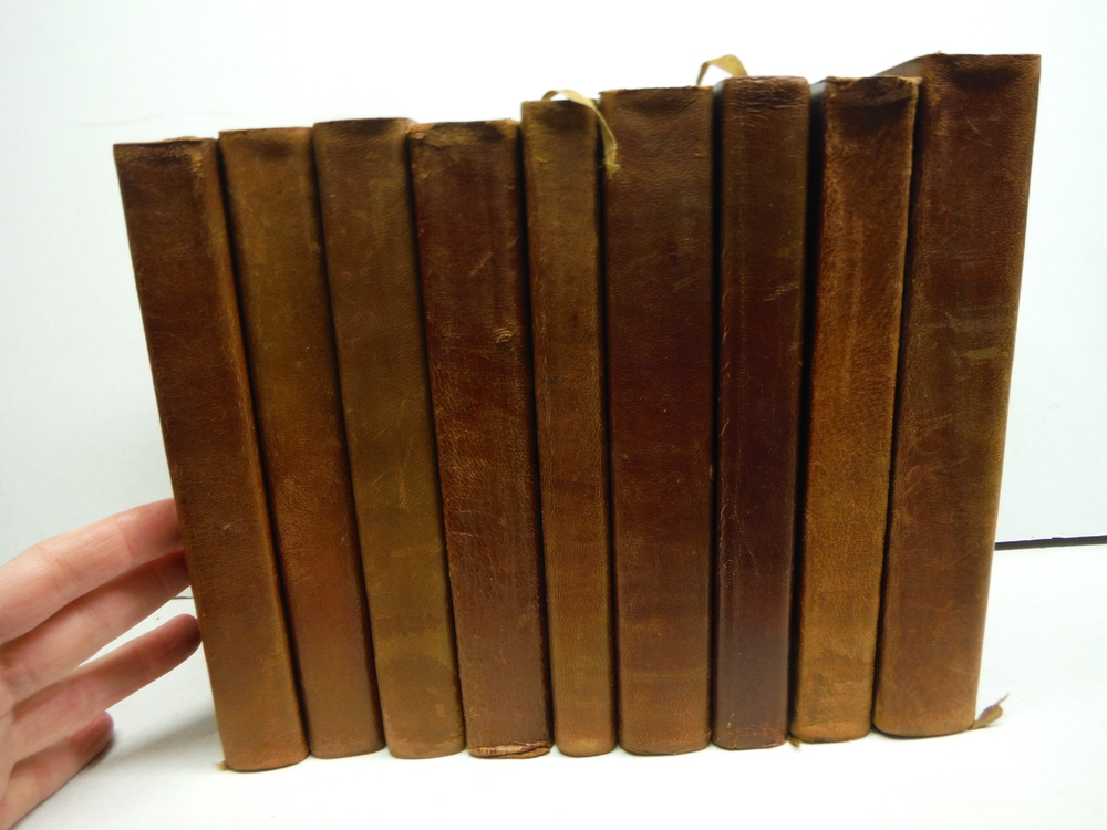 NINE ANTIQUE LEATHER BOUND BOOKS OF CLASSIC POETRY – CROWELL CIRCA 1900