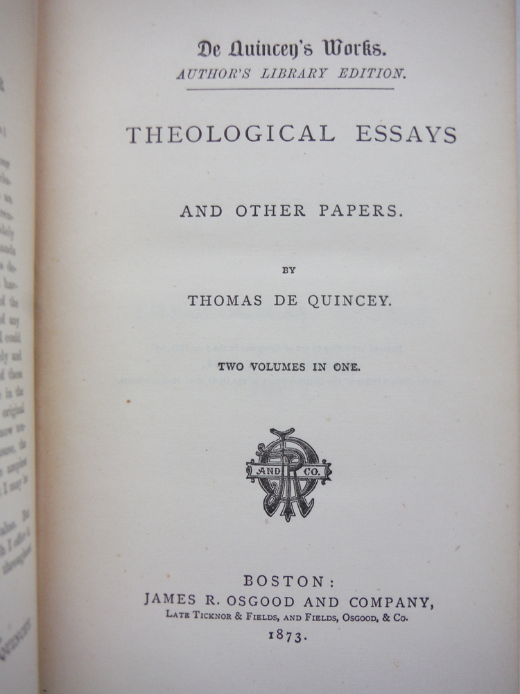 Image 1 of Theological Essays and Other Papers