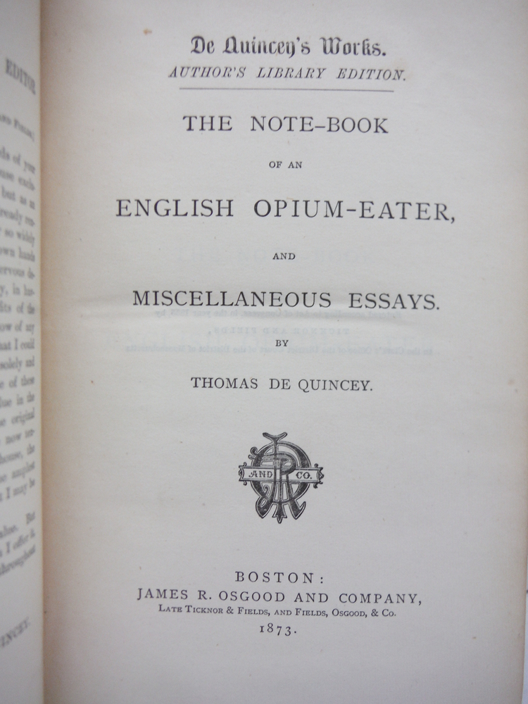 Image 1 of The Note-Book of an English Opium-Eater and Miscellaneous Essays