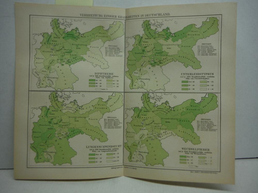 Meyers Antique Colored Map of  VERBREITUNG EINIGER KRANKHEITEN IN DEUTSCHLAND  (