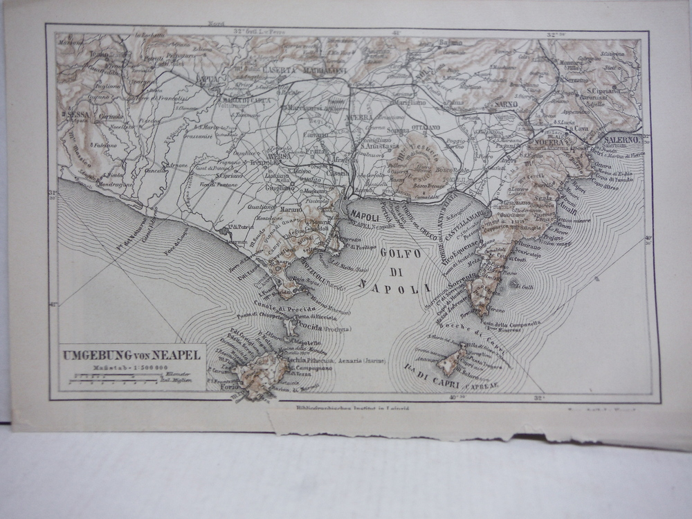 Image 1 of Meyers Antique Colored Map of  NEAPEL (NAPLES)  (1890)