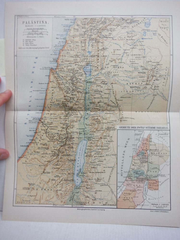 Image 0 of Meyers Antique Colored Map of  PALASTINA (PALESTINE)  (1890)