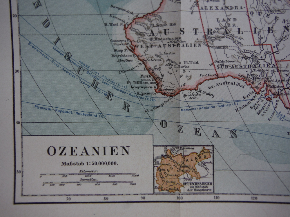 Image 1 of Meyers Antique Colored Map of  OZEANIEN(1890)