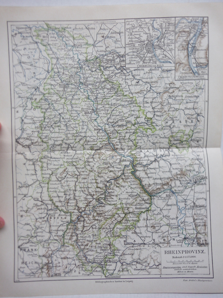 Image 0 of Meyers Antique Colored Map of  RHEINPROVINZ (1890)
