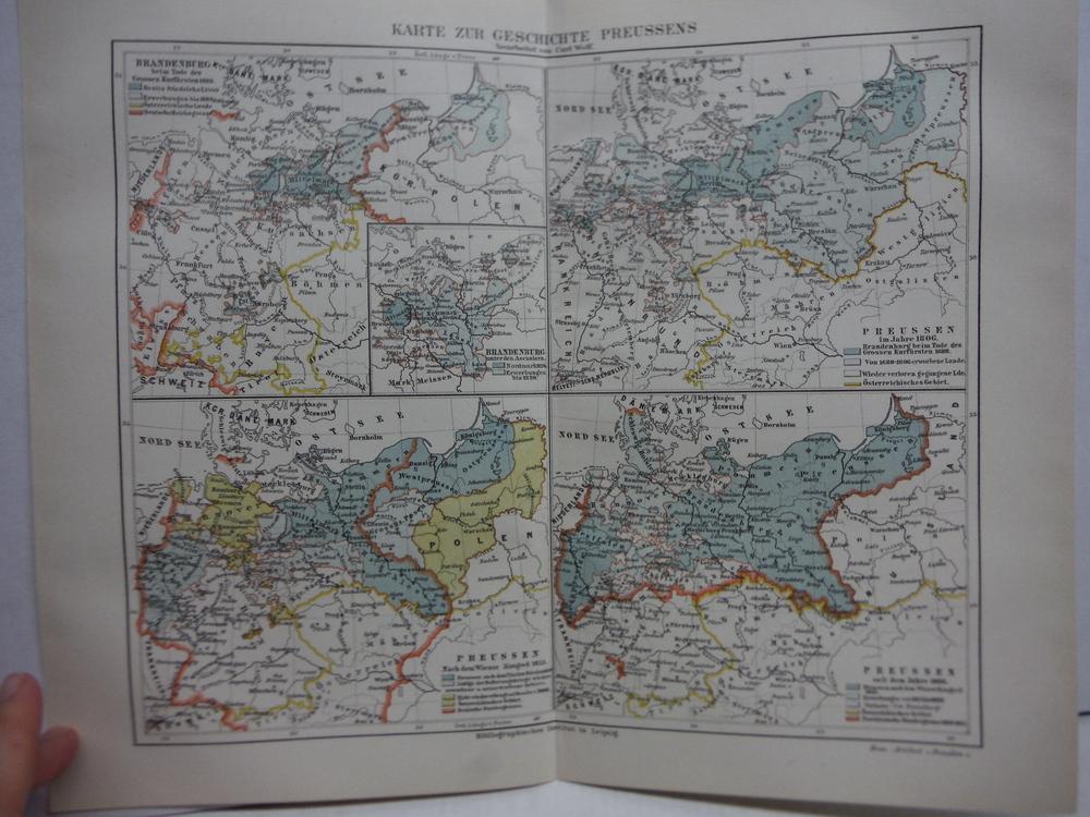Image 0 of Meyers Antique Colored Map of  KARTE ZUR GESCHICHTE PREUSSENS (1890)
