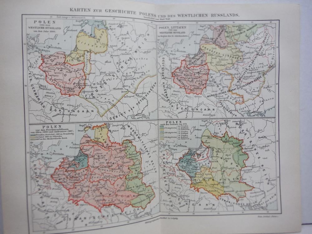 Image 0 of Meyers Antique Colored Map of  KARTE ZUR GESCHICHTE POLENS UND DES WESTLICHEN RU