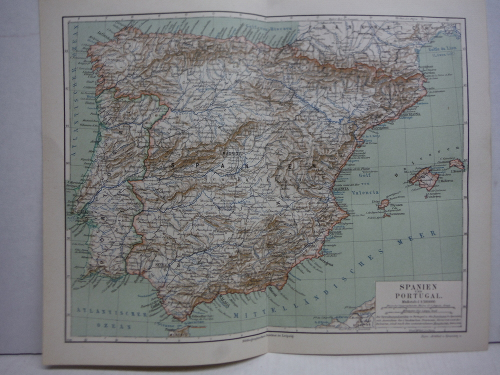 Image 0 of Meyers Antique Colored Map of  SPANIEN UND PORTUGAL  (1890)