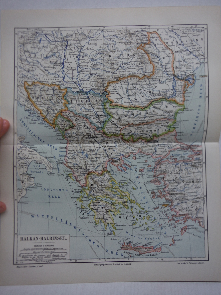 Meyers Antique Colored Map of  BALKAN-HALBINSEL  (1890)