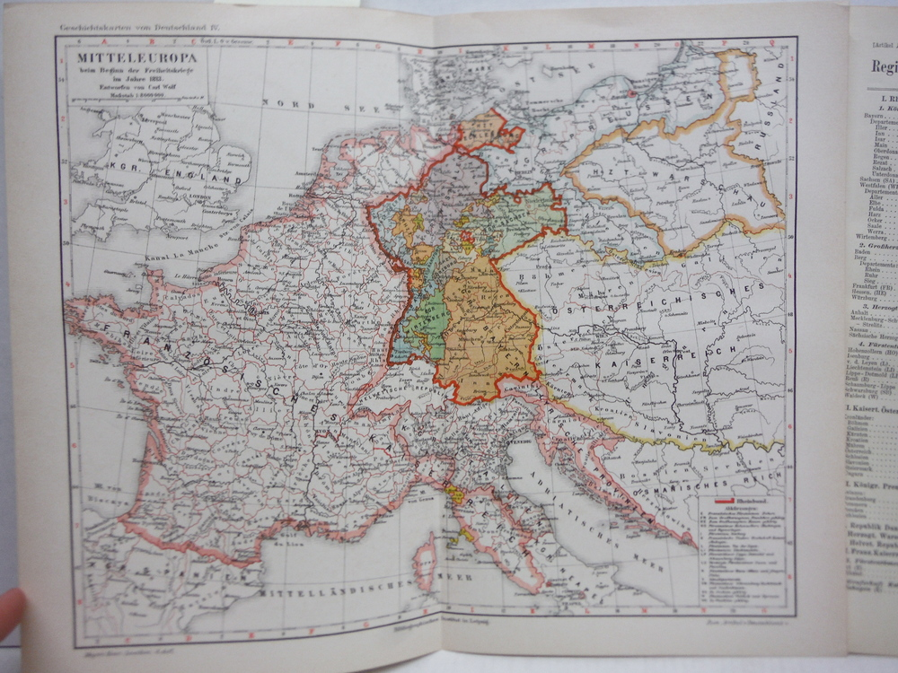 Antique Meyers Lexikon Color Map of  MITTELEUROPA IN 1813  (1890)