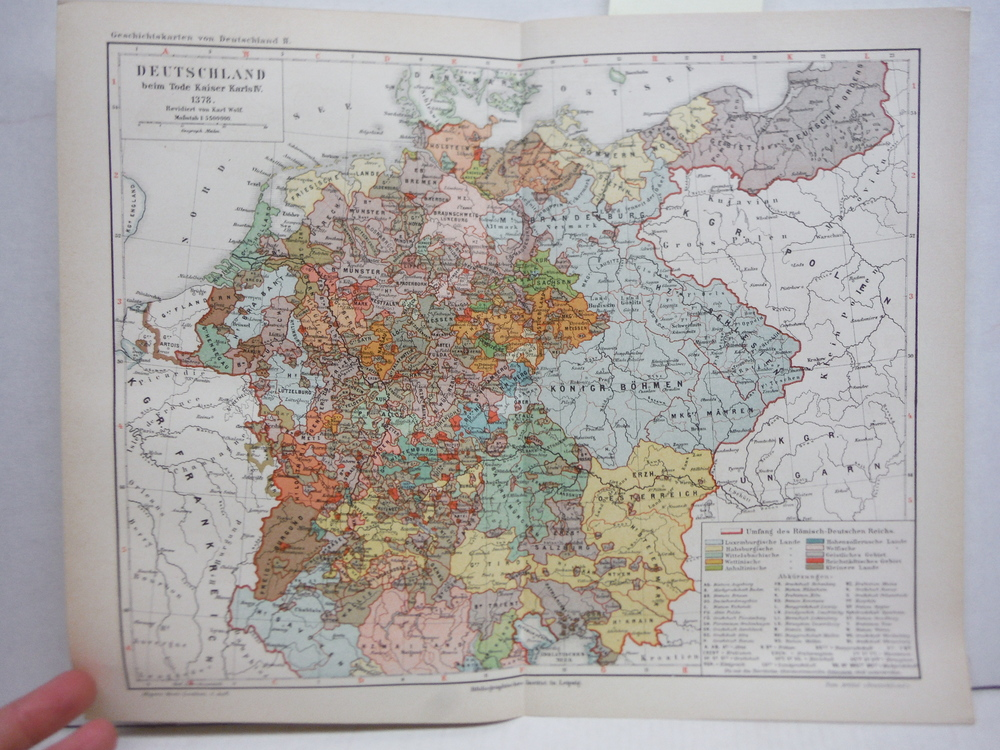 Antique Meyers Lexikon Color Map of  DEUTSCHLAND BEIM TODE KAISER KARIS IV 1378