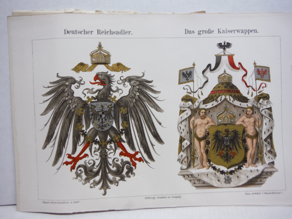 Antique Meyers Lexikon Chromo llithograph of the German Imperial Eagle and Coat