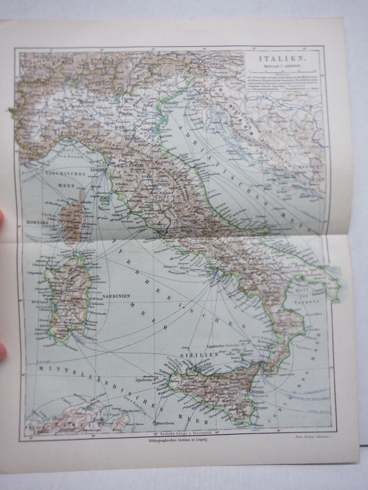 Antique Meyers Lexikon colored map ITALIEN (Italy) (1890)