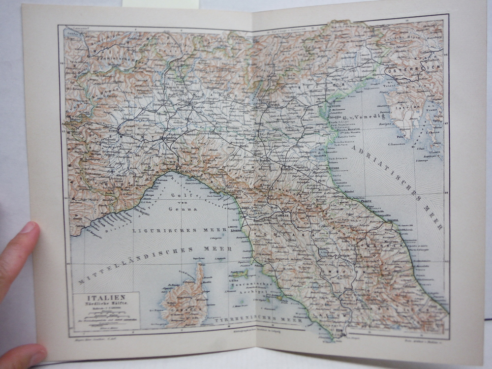 Antique Meyers Lexikon colored map ITALIEN NORDLICHE HALFTE (Northern Italy) (18