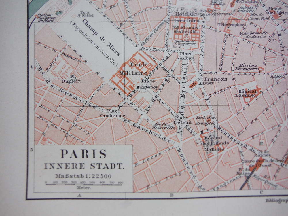 Meyers Antique Colored Map  of  PARIS INNERE STADT (1890)
