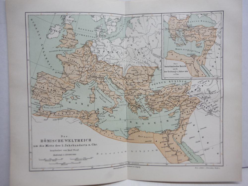 Meyers Antique Colored Map  of   DAS ROMISCHE WELTREICH UM DIE MITTE DES 2. JAHR
