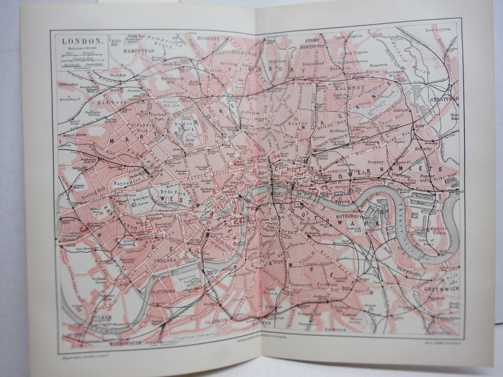 Meyers Antique Colored Map  of   LONDON (1890)