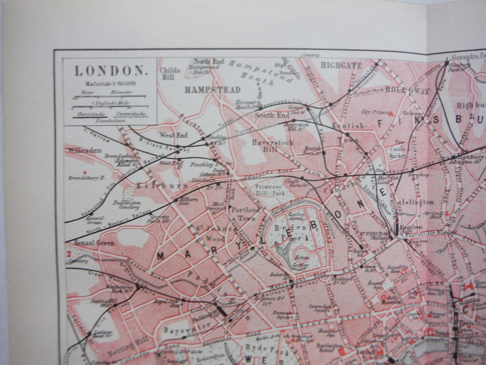 Image 1 of Meyers Antique Colored Map  of   LONDON (1890)