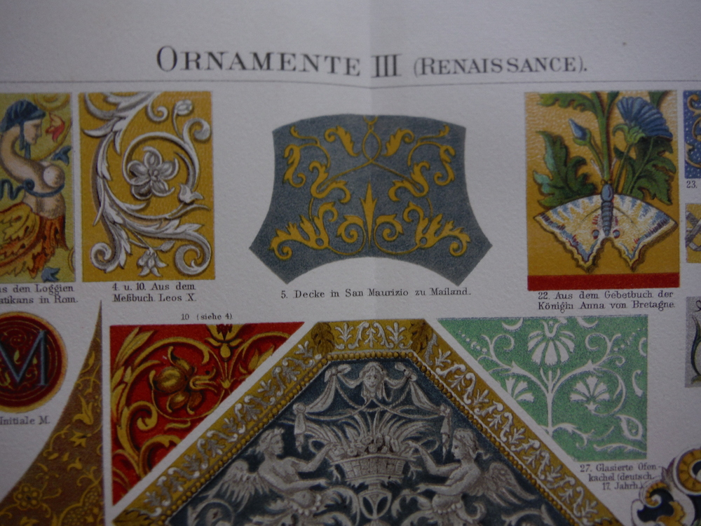 Image 1 of Four Meyers Antique Color lithograph ORNAMENTE  (Decorations)  (1890)