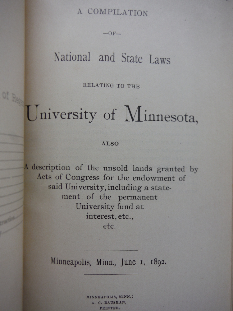 Image 2 of a Compilation of National and State Laws Relating to the University of Minnesota