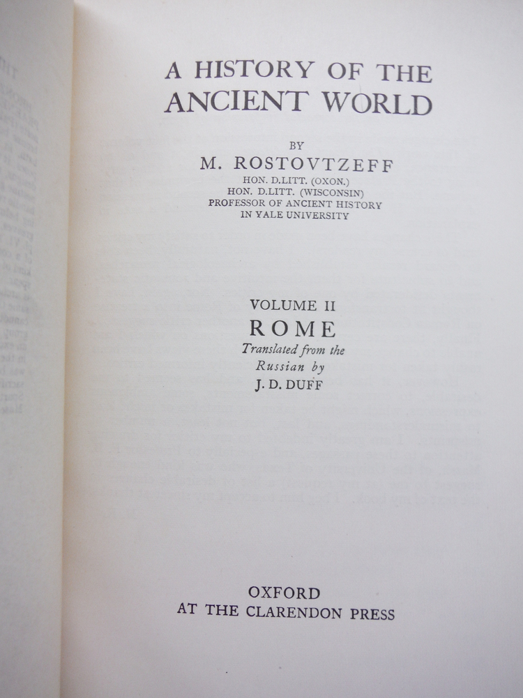 Image 1 of A History of the Ancient World. Vol 2: Rome. Trans. by J. D. Duff.