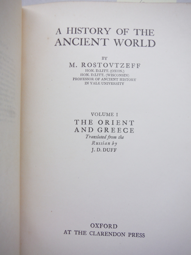 Image 1 of A History of the Ancient World:  Volume 1 The Orient and Greece