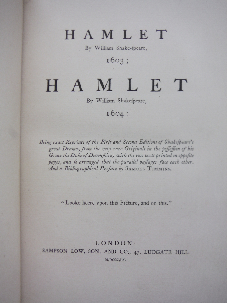 Image 1 of Hamlet: Being exact Reprints of the First and Second Editions of Shakespeare's g
