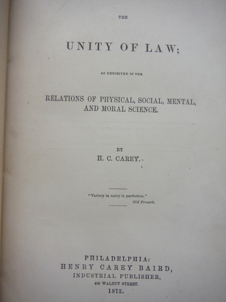 Image 1 of The Unity of Law; as exhibited in the Relations of Physical, Social, Mental and