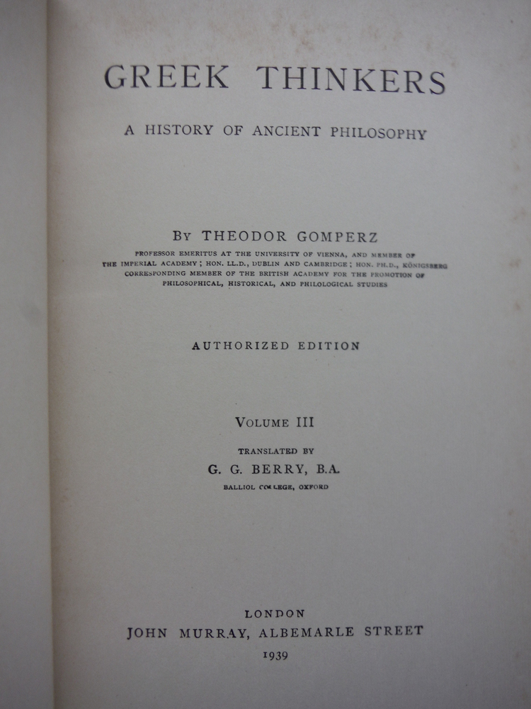 Image 2 of Greek Thinkers A History of Ancient Philosophy