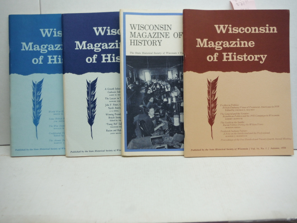 Wisconsin Magazine of History 4 issues (1969-1973)